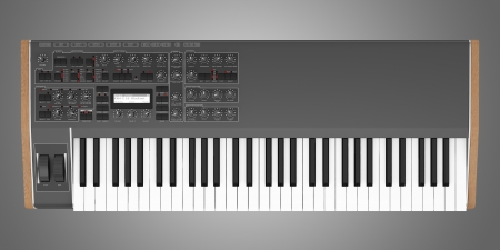 top view of black synthesizer isolated on gray background photo