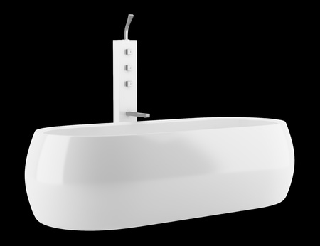 modern bathtub isolated on black background photo