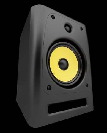 single black audio speaker isolated on black background Stock Photo - 22132604
