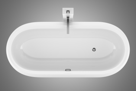 top view of modern bathtub isolated on gray background Stock Photo