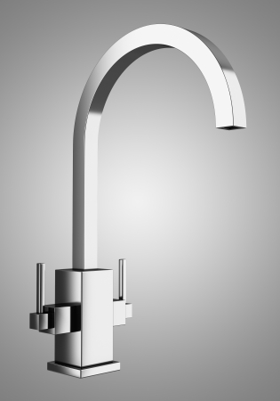 modern faucet isolated on gray background Stock Photo - 22304980