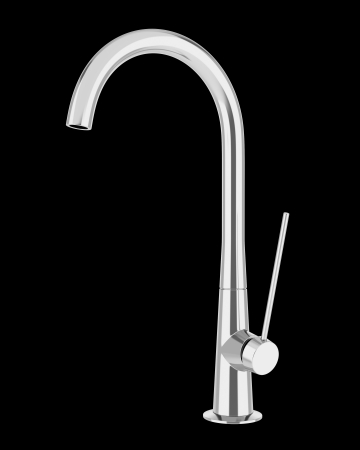 modern faucet isolated on black background photo