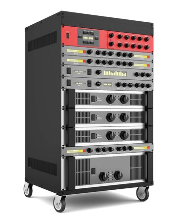 processors: audio effects processors in a rack isolated on white backgroud