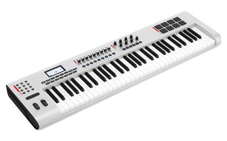 gray synthesizer isolated on white background