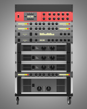 processors: audio effects processors in a rack isolated on gray backgroud Stock Photo