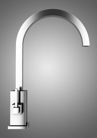 modern faucet isolated on gray background photo