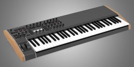 black synthesizer isolated on gray background Stock Photo