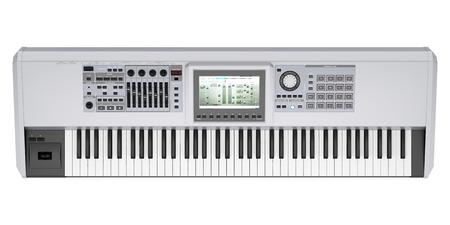 teclado de piano: vista desde arriba del sintetizador gris aislado en el fondo blanco