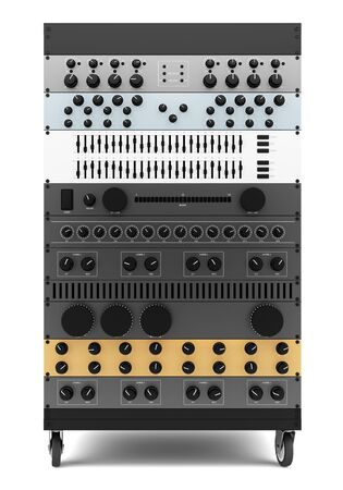 processors: audio effects processors in a rack isolated on white background