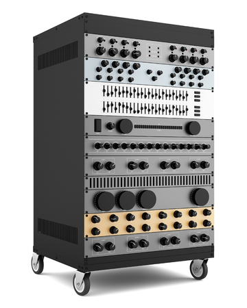 amplifier: audio effects processors in a rack isolated on white background