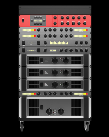 processors: audio effects processors in a rack isolated on black backgroud