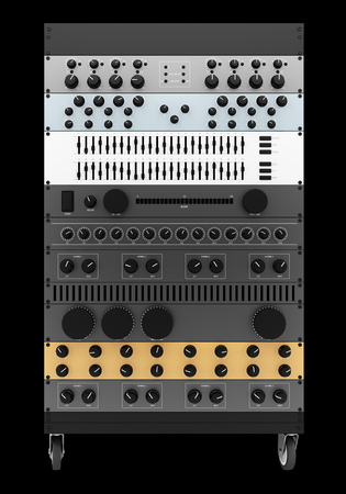 processors: audio effects processors in a rack isolated on black background