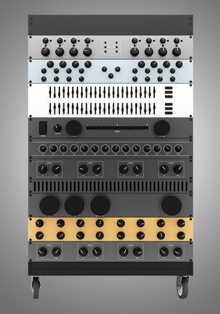 processors: audio effects processors in a rack isolated on gray background Stock Photo