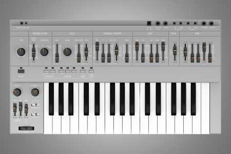 top view of gray synthesizer isolated on gray background photo