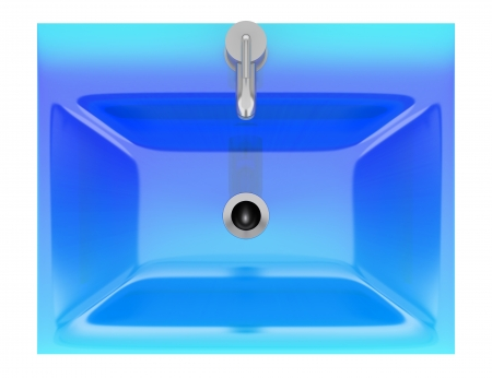 washbasin: top view of modern blue glass bathroom sink isolated on white background