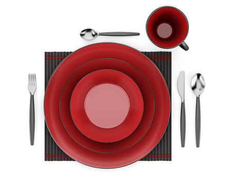 top view of black and red table setting with cup isolated on white background photo
