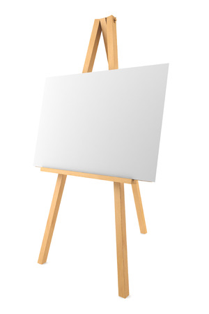 wooden easel with blank canvas isolated on white background Standard-Bild