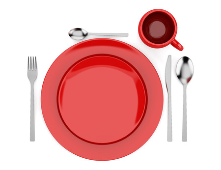 top view of red table setting isolated on white background photo