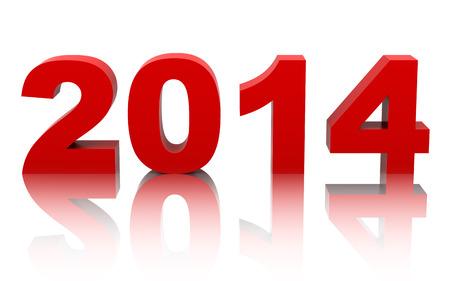 año nuevo 2014 con la reflexión sobre fondo blanco Foto de archivo - 22801719