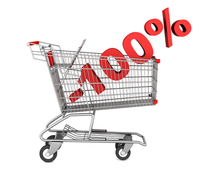 shopping cart with 100 percent discount isolated on white background photo