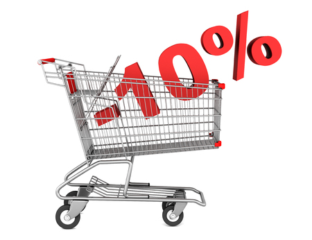 shopping cart with 10 percent discount isolated on white background photo