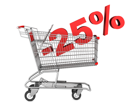 shopping cart with 25 percent discount isolated on white background photo