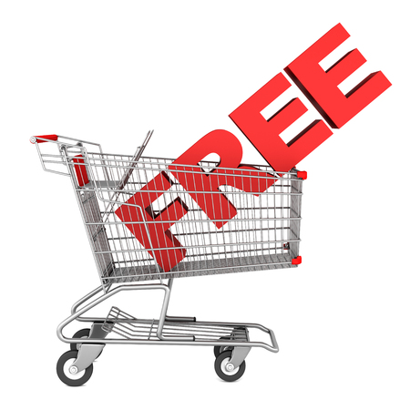 shopping cart with word free isolated on white background photo