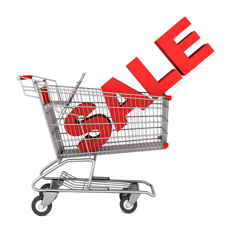 shopping cart with word sale isolated on white background photo