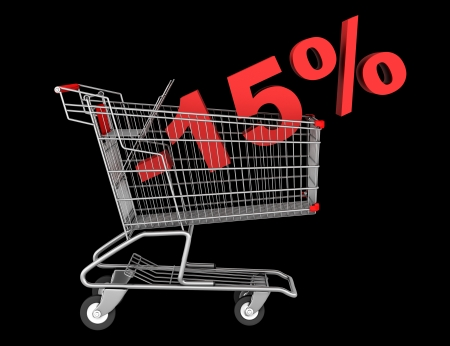 15: shopping cart with 15 percent discount isolated on black background