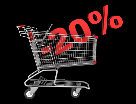 shopping cart with 20 percent discount isolated on black background photo