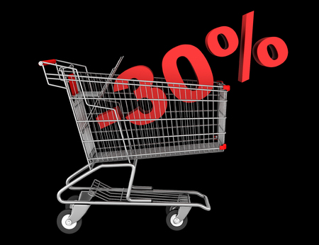 shopping cart with 30 percent discount isolated on black background photo