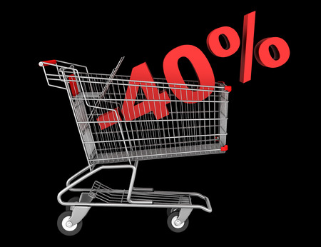 shopping cart with 40 percent discount isolated on black background photo