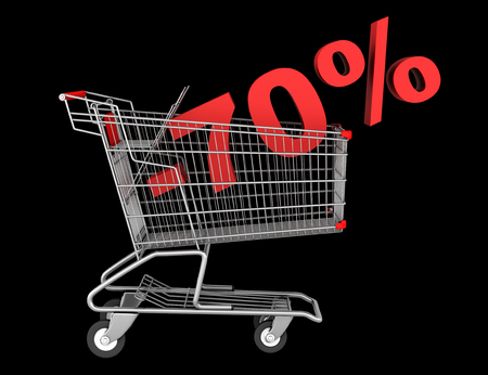 shopping cart with 70 percent discount isolated on black background photo