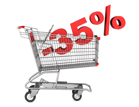 shopping cart with 35 percent discount isolated on white background photo
