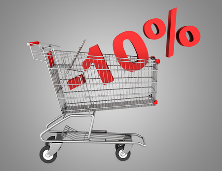 shopping cart with 10 percent discount isolated on gray background photo