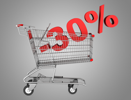 shopping cart with 30 percent discount isolated on gray background photo