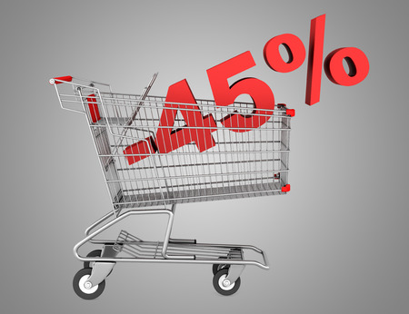 shopping cart with 45 percent discount isolated on gray background photo