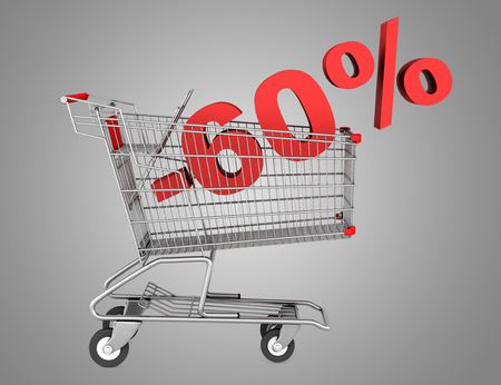 shopping cart with 60 percent discount isolated on gray background photo