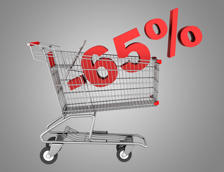 shopping cart with 65 percent discount isolated on gray background  photo