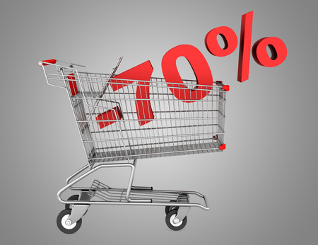 shopping cart with 70 percent discount isolated on gray background photo
