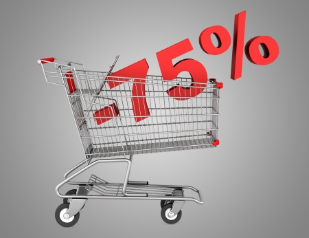 shopping cart with 75 percent discount isolated on gray background photo
