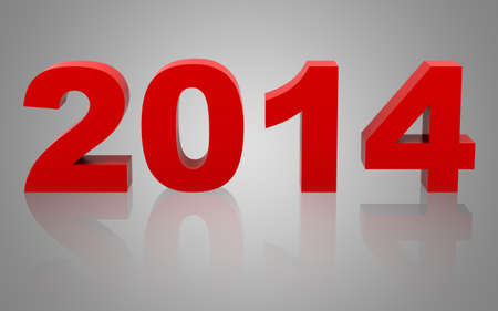 new year 2014 with reflection isolated on gray background photo