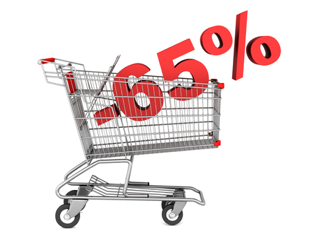 shopping cart with 65 percent discount isolated on white background  photo
