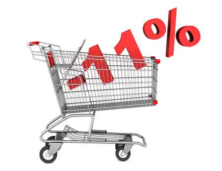 shopping cart with 11 percent discount isolated on white background photo