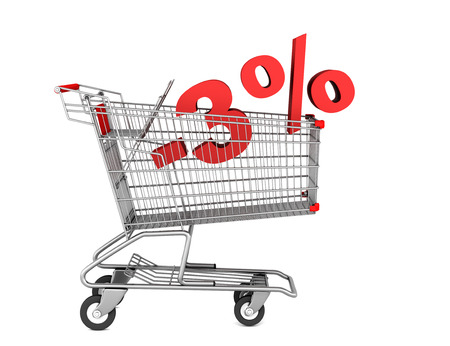 shopping cart with 3 percent discount isolated on white background photo