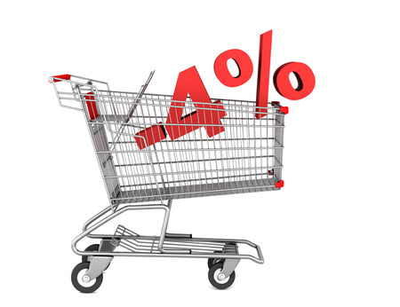 shopping cart with 4 percent discount isolated on white background Stock Photo - 22956049