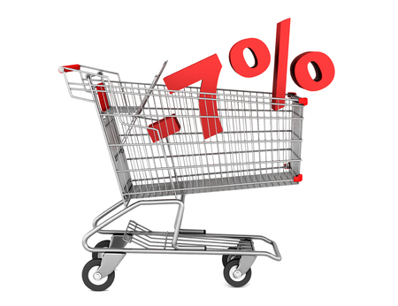 shopping cart with 7 percent discount isolated on white background photo