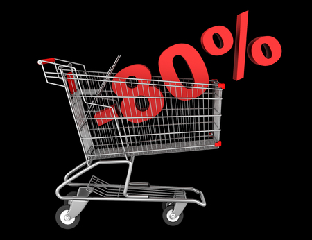 shopping cart with 80 percent discount isolated on black background photo