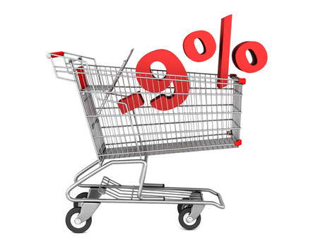 shopping cart with 9 percent discount isolated on white background photo