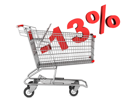 shopping cart with 13 percent discount isolated on white background photo